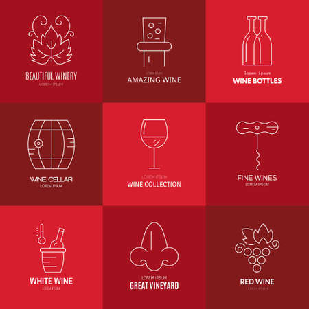 cellar: Wine logo templates. Line style vector. Perfect vineyard element design.
