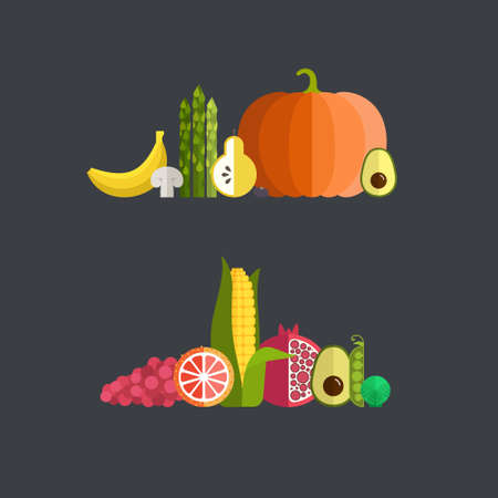 pommegranate: Vector collection of fresh healthy fruits and vegetables made in flat style - each one is isolated for easy use. Healthy lifestyle or diet design element.