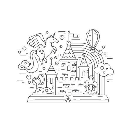 Thin line vector illustration with open book and fairytale castle. Magical world of imagination with unicorn, balloon, rainbow. Imagination and creative thinking concept.