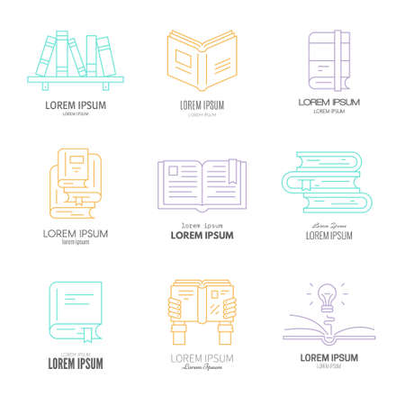 book club: Colorful set of logotypes for university, book club, bookstore, book festival. Imagination and learning concept. Literature illustration.