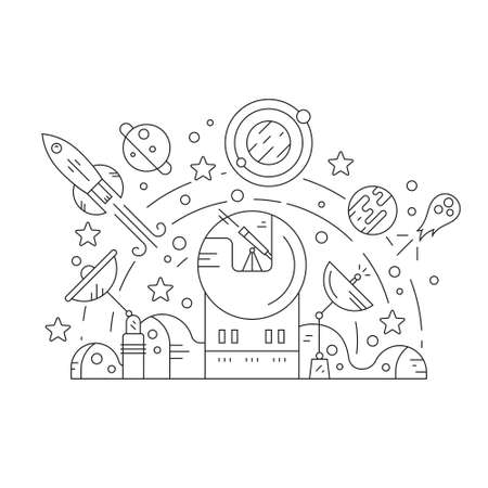 sattelite: Adventure and exploration concept with space related design elements - rocket, planets, observatory, sattelites, stars. Thin line vector illustration. Illustration
