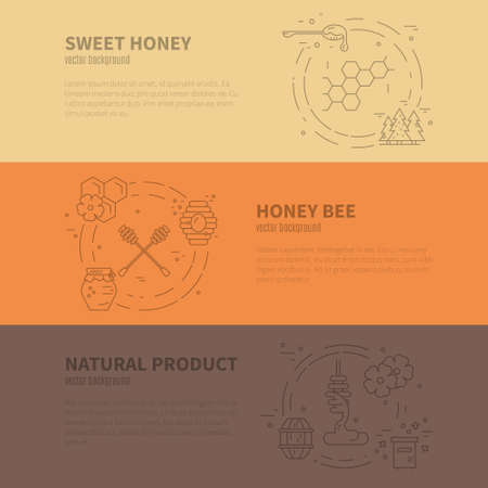 Modern collection of vector banners with honey related items and sample text. Perfect banner for advertising, packaging and other design.