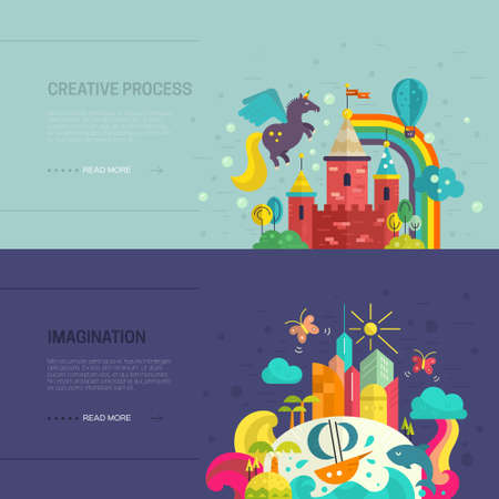 Collection of two banners with tropical island and fairycastle. Imagination and creative process concept. Flat vector illustration. Vettoriali