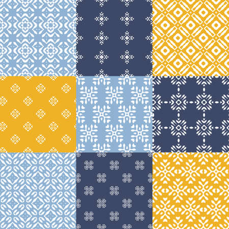 retro patterns: Set of nine vector seamless geometrical patterns. Vintage textures. Decorative background for cards, invitations, web design. Retro digital paper. Illustration