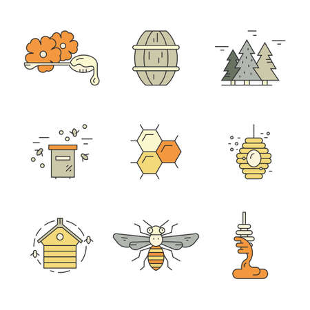 dipper: Collection of honey related design elements: bee, hive, honeycomb, dipper with honey. Vector line series.