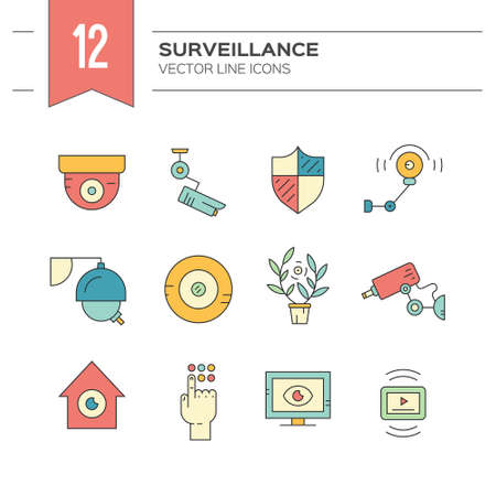 monitored area: Colorful modern icons with surveillance and security system elements made in vector. Modern clean design elements for website, applications and advertising.
