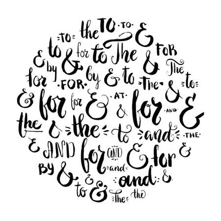 catchword: Collection of hand drawn ampersands and catchwords. Vector isolated design elements for save the date cards and wedding invitations.