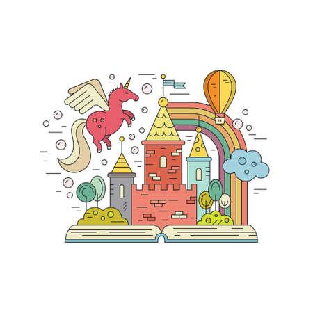 Vector verbeelding concept - met het koninkrijk, eenhoorn, regenboog en de ballon open boek. Creatief denken concept. Kleurrijke illustratie van fantasie wereld en verbeelding.