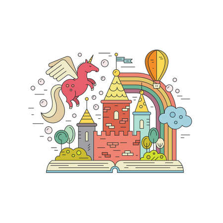 Vector imagination concept - open book with kingdom, unicorn, rainbow and balloon. Creative thinking concept. Colorful illustration of fantasy world and imagination. Vettoriali