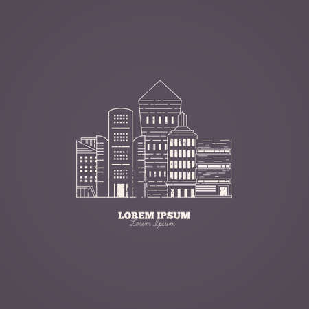 property management: Line style vector logo template with skyscrapers. Urban illustration with different office buildings.Concept of leadership or success.