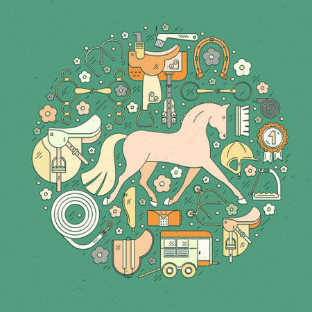 snaffle: Modern line style equine circle conceptual illustration with different horseriding elements including horse, saddle, bit, helmet and other gear. Equestrian vector. Horse rider concept. Equine icon vector design.
