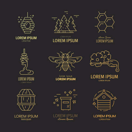 Vector set of logotypes with different honey related items including dipper with honey, bee, honeycomb, forest. Perfect design element for natural product. Illusztráció