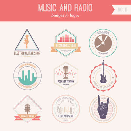 music production: Collection of music logos made in vector. Recording studio labels hipster style. Podcast and radio badges with sample text. Vintage t-shirt design elements with musical elements - guitar, horns. Sound production logotypes. Illustration