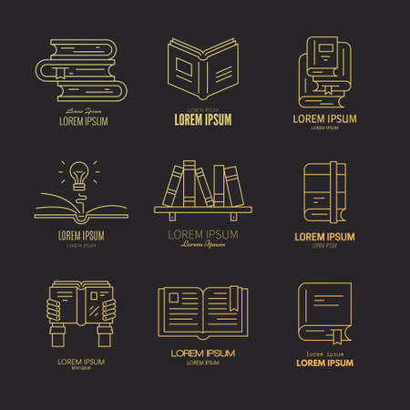programm: Vector collection of logotypes with books - education, learning and reading design elements with sample text. Open book, idea concept, bookclub, book festival or university programm emblem. Illustration