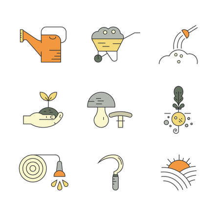 industry icons: Vector icons with farming and agricultural elements for local markets or farming industry. Great set of line style symbols. Linear symbols of agriculture. Illustration