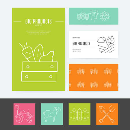 stead: Organic farming business identity collection with several elements, including letterhead, business cards and flyers. Modern vector template for your business. Perfect and clean layout.