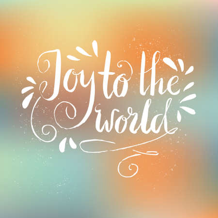 joy: Joy To The World - Calligraphic Christmas lettering. Vector illustration.Perfect holiday congratulation card design element. New Year design. Illustration
