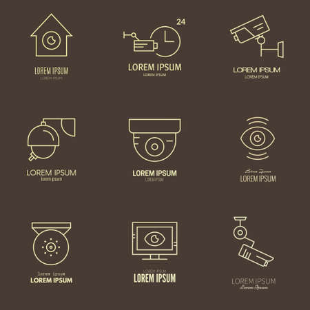 video surveillance: Video surveillance logos made in modern line style. Secutiry cameras labels. CCTV icons. Illustration