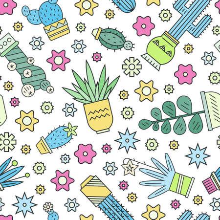 plantas del desierto: Diseño brillante sin patrón, con plantas del desierto - cactus y suculentas. Fondo geométrico con plantas de estilo moderno con el esquema. Textura infantil para el diseño de superficie.