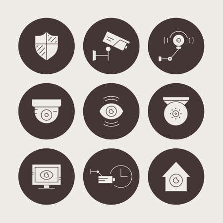 monitored area: Set of silhouette icons with video surveillance cameras. Secutiry cameras illustration. Monitored area and protection of property concept.