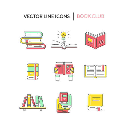 reading a book: Colorful collection of vector book symbols. Book in hands, stack of books, bookshelf, open book - different concepts of reading, learning, education.