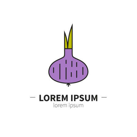 Onion logo design template. Modern linear branding element for healthy lifestyle company or food manufacturer. Vegetarian concept. Fruit and vegetable farmers market label. Unique symbol.