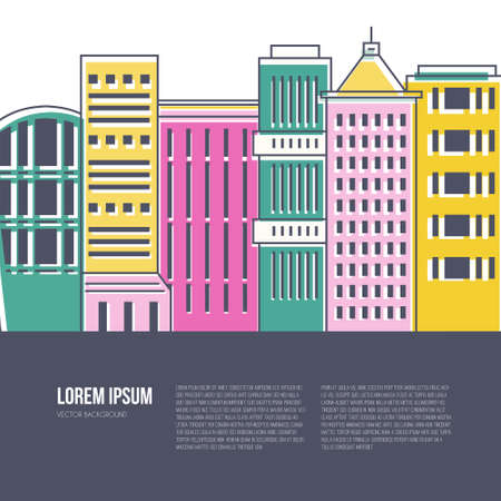 residential building: Colorful city scene with different office buildings made in vector. Skyscraper collection with place for your text. Flyer or banner template with modern line style town graphic. Illustration