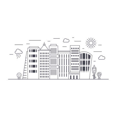 green buildings: Green city concept with office buildings and skyscrapers made in modern line style vector. Trees and weather icons. Eco living illustration.