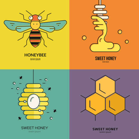mead: Colorful set of honey logo templates with different design elements. Vector label collection.