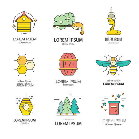 mead: Set of logo collection with honey related items and sample text. Can be used as a label for packaging, eco company or for any honey related design.