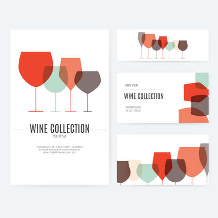 wine industry: Modern  company style for brandbook with different glasses. Corporate identity template. Wine industry.