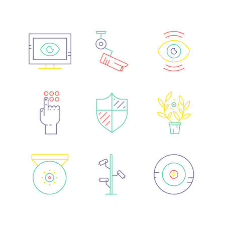 video surveillance: Video surveillance icons made in modern line style. Secutiry cameras illustration. Monitored area and protection of property concept.