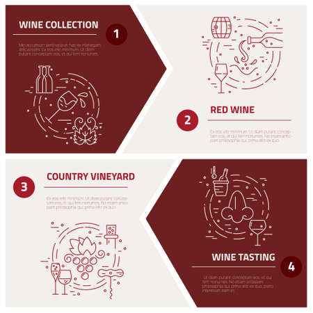 wine industry: Different wine industry symbols including glass, grape, bottle, corckscrew with sample text. Perfect background for wine-related design. Vector concept.