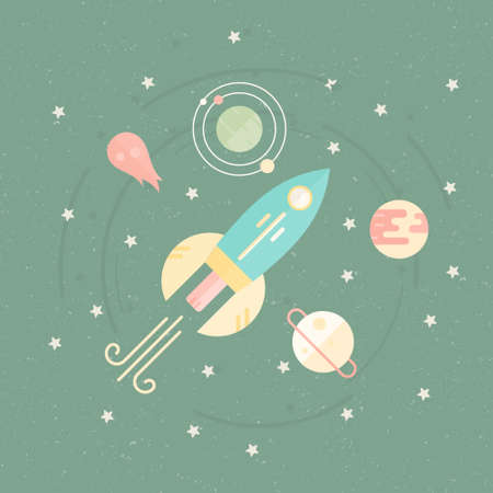 discovery: Space illustration with rocket, planets, meteor, orbit. Successful launch or startup concept. Adventure journey illustration. Illustration
