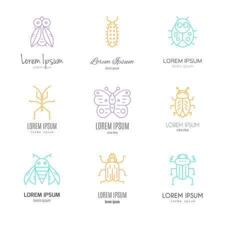centipede: Logo templates with bugs and insects made in vector - each label is isolated and easy to use. Data protection symbols, pest control, nature design element.