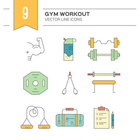 detailed: Modern line collection of icons with different fitness, bodybuilding and weightloss elements. Vector line icon collection.