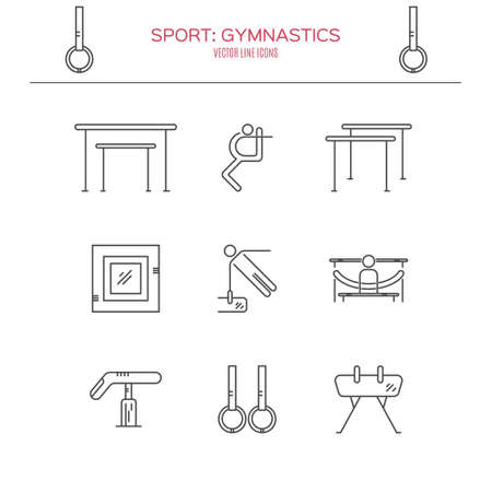 exersice: Modern and unique Artistic gymnastics icons and symbols collection made in modern linear vector style. Sports vector logo design template. Modern linear icon set.