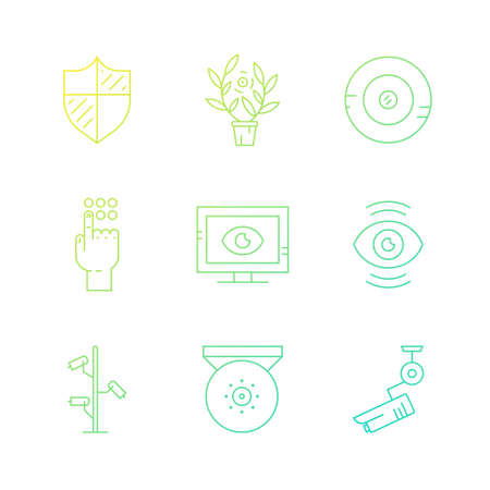 monitored area: Surveillance cameras and spy devices made in vector. Modern line style icons. Security system design element. CCTV icons.