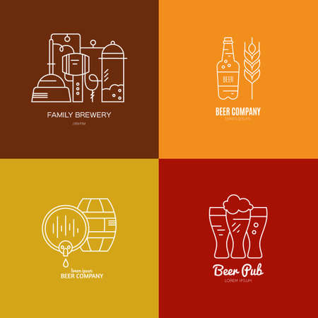 distillery: Logo collection for beer pub or brewery - modern templates with sample text. Octoberfest logotype set. Clean and modern line style vector. Illustration