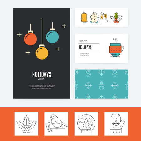 business template: Colorful business template collection with different Christmas and New Year elements. Easy to edit vector template. Illustration