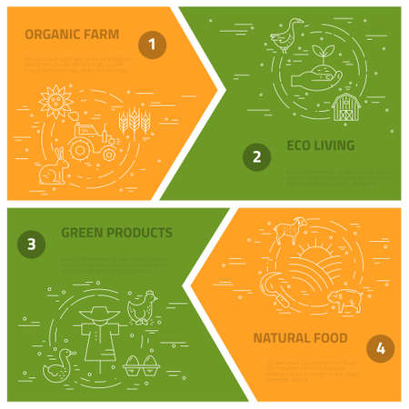 stead: Collection of farming illustrations with different agricultural symbols.Great linear style conceptual banner template. Illustration