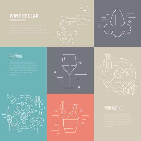 ガラス、ブドウ、瓶、サンプル テキスト付き corckscrew を含むさまざまなワイン業界シンボルの付いたワイン プロセスのベクトル概念。ワイン関連の