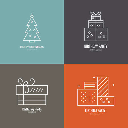 pictogramm: Perfect modern set of Christmas icons including Christmas tree and different presents. Thin line vector collection.