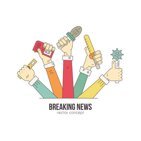 Journalists hands with microphones and recording devises - media and press illustration. News or blog logotype concept made in modern line style vector. Paparazzi or live news illustration.