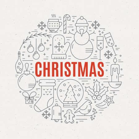 Unieke vector concept met verschillende kerst en nieuwjaar vieren elementen. Schoon en gemakkelijk te edit.Unique illustratie voor t-shirts, spandoeken, folders en andere vormen van business design. Stock Illustratie