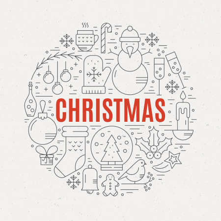Unique vector concept with different christmas and new year celebration elements. Clean and easy to edit.Unique illustration for t-shirts, banners, flyers and other types of business design.  Ilustração
