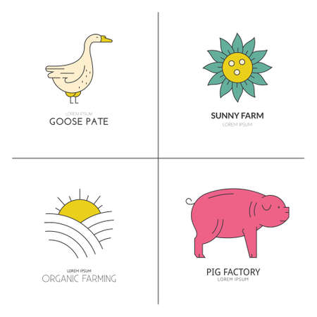 arable: Colorful vector farm animals logos for farming industry or organic products. Simple linear emblems.
