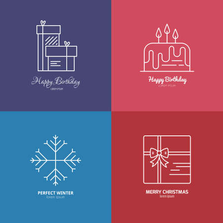 pictogramm: Holiday celebration icons including presents and birthday cake. Thin line vector collection. Illustration