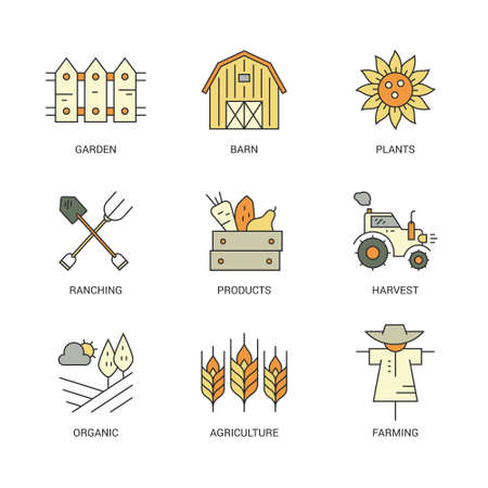 farming industry: Perfect farming icons with different agricultural and eco product harvesting design elements including sunflower, wheat, tractor. Perfect clean vector.