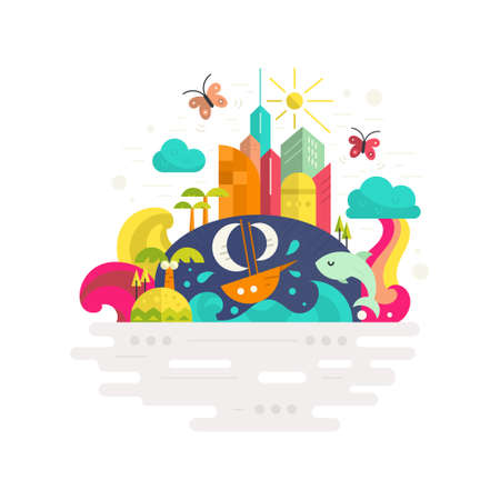dream land: Vacation to tropical paradise concept - modern buildings, island, ship, waves, coconut trees, butterflies and fish. Flat vector illustration.